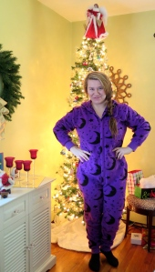 Purple Moon Onsie, Black Socks